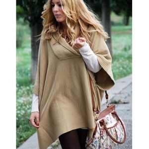 H&M Camel poncho knit sweater